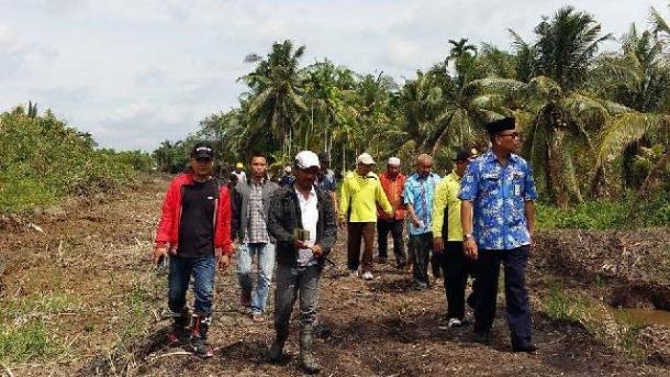 Kadisbun Inhil Tantawi Jauhari (kanan) saat meninjau pekerjaan pembuatan tanggul sebagai salah satu upaya mengatasi kerusakan lahan perkebunan rakyat baru-baru