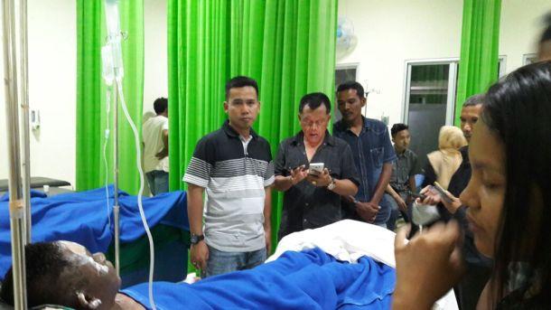 2 orang korban kebakaran saat mendapatkan perawatan di RSUD Puri Husada Tembilahan