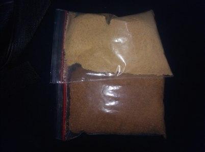 contoh produksi gula semut rasa original dan rasa jahe hasil olahan salah satu kelompok pengrajin binaan Diskop UMKM Inhil