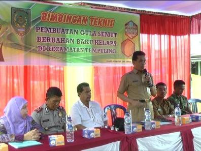 Kadiskop UMKM Inhil, DR H Dianto mampanini saat memberikan sambutan sekaligus membuka acara peresmian pelatihan pengeolahan gula semut di Kecamatan Tempuling
