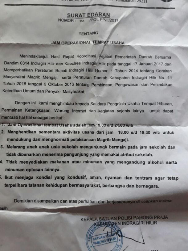Ini dia Surat Edaran Satpol PP Inhil yang dikritisi Pengusaha Warnet