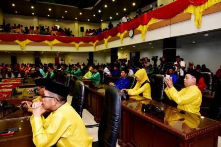 Sejumlah anggota DPRD Inhil yang mengikuti rapat paripurna istimewa Milad ke 52 Kabupaten Indragiri Hilir