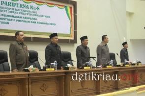 Dari kiri Sekdakab Inhil H Said Syarifuddin Ketua DPRD Inhil H Dani M Nursalam Wakil Ketua H Feriyandi dan H Syahruddin serta Sekwan DPRD Inhil H Fauzan Hamid