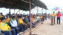 Bupati Inhil HM Wardan menyampaikan sambutan pada pembukaan pelaksanaa festival heritage manongkah 2017 di pantai Bidari desa tanjung pasir kecamatan Tanah Merah Inhil