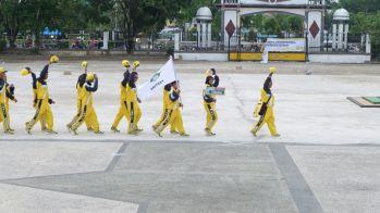 Barisan atlit Inhil yang akan membela nama Inhil di ajang Porprov Riau di Kampar (1)
