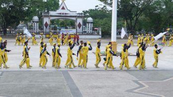 Barisan atlit Inhil yang akan membela nama Inhil di ajang Porprov Riau di Kampar (3)