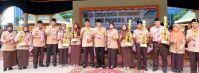 Foto bersama usai apel besar peringatan Hari Pramuka ke 56 di Lapangan upacara jalan Gadjah Mada Tembilahan